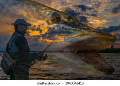 Pike fishing. Photo collage of angler with spinning rod on soft focus muskie fish on cloudy sunset background. - Shutterstock ID 1940346418