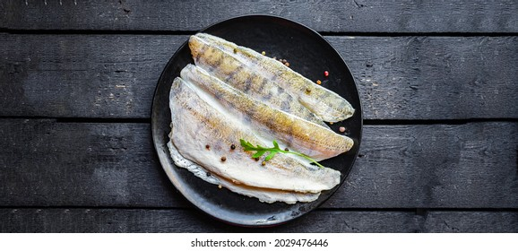 pike perch raw fillet no fish bones fresh seafood hake meal snack copy space food background