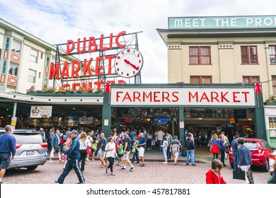 pike place market or Public market in summer,Seattle,Washington,usa.  -blur. -for editorial. 07/05/16