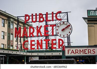 pike place pike market sign in seattle washington June 2017 seattle washington
