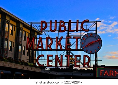 Pike Place Public Market sign in downtown Seattle near the Puget Sound.