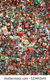 Pike Place, Seattle. July 26 2016.  Chewed gum made a very attractive place.  The accumulation of waste made a place interesting to visit.