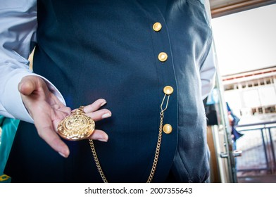 Pikes Peak Cog Railway train conductor and her timepiece offered