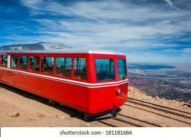 Pikes Peak Cog Train from top of Pike Peak, Colorado Springs, CO.