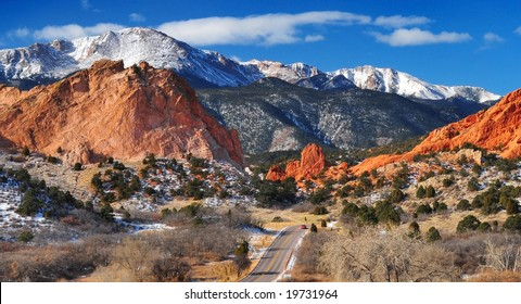 Pikes Peak Soaring over the Garden of the Gods near Colorado Springs, Colorado in Winter