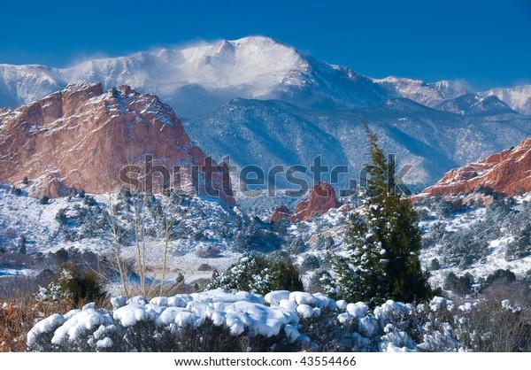 Pikes Peak Soaring Over Garden Gods Stock Photo Edit Now