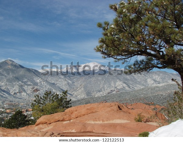 Pikes Peak Winter Garden Gods Colorado Stock Photo Edit Now
