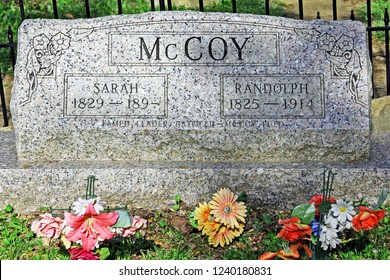 Pikeville, Kentucky - April 14, 2014: grave site of Randolph McCoy of the famous feud between the Hatfields and McCoys