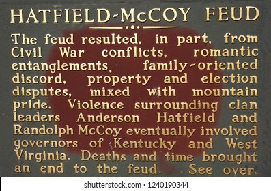 Pikeville, Kentucky - April 14, 2014:  Sign describing the famous feud betwen the Hatfields and McCoys