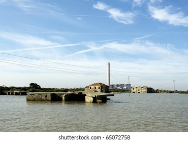 Pila (Ro),Po River Delta, Italy,some ruins of old buildings in the Bag of Basson and the power plant of Island Camerini