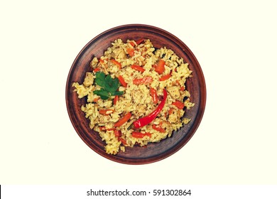 Pilaf on plate on a white Background isolated