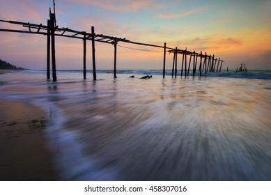 Pilai bridge , Old wooden bridge Phuket south of Thailand .