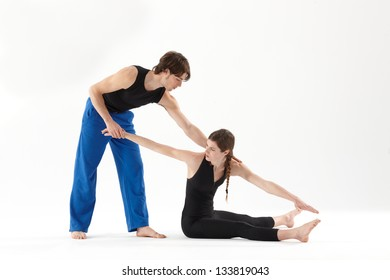 Pilates class with instructor
