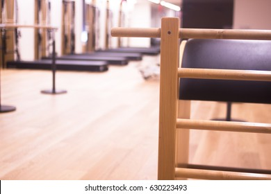 Pilates exercise training and flexibility stretching machine in gym yoga and wellbeing studio.