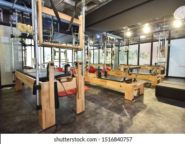 Pilates training instruments in sports center