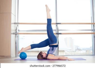 pilates woman stability ball gym fitness yoga exercises girl