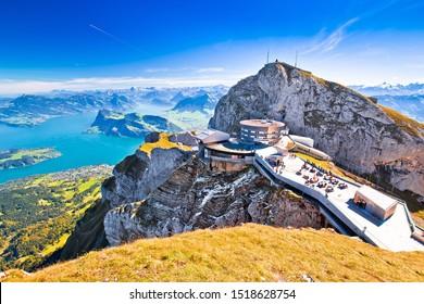 Pilatus Kulm mountain peak and Lucerne lake view, alpine peaks of Switzerland