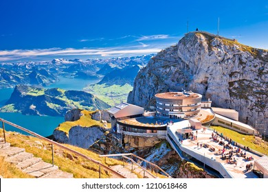 Pilatus mountain peak and Lucerne lake view, alpine peaks of Switzerland