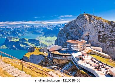Pilatus mountain peak and Lucerne lake view, alpine peaks of Switzerland