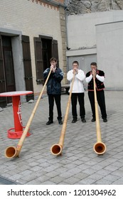 PILATUS, Switzerland - 21st September, 2008: Performers are playing alphorn which is local music instrument of Switzerland.