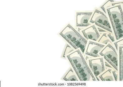 Pile of 100 dollars (USD) banknotes/bills on back side isolated on white background. Money concept. Copy space