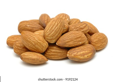 Pile of almonds in isolated white background