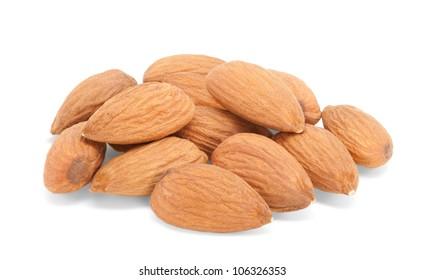 Pile of almonds on white background horizontally.