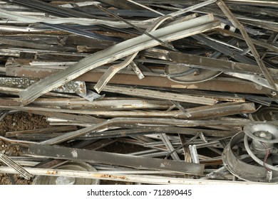 Pile of aluminum scrap wait for recycle