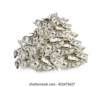 Pile with american hundred dollar bills isolated