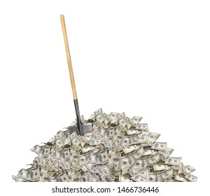 Pile with american one hundred dollar bills and shovel isolated on white background