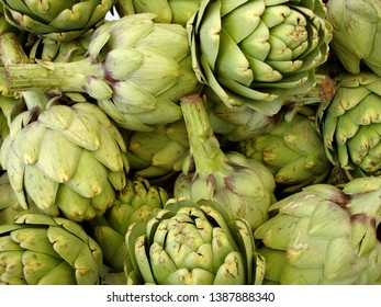 Pile of Artichoke on display at a farmers market in San Francisco, CA