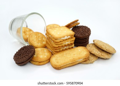 A pile of assorted biscuits with white background