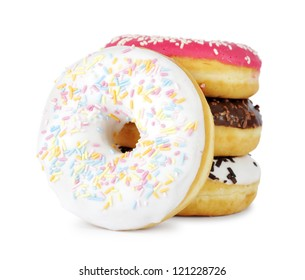 Pile of assorted donuts isolated on a white background