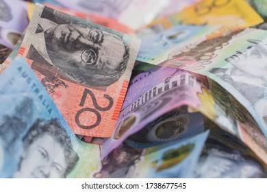 pile of Australian money notes dollar bills