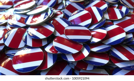 Pile of badges featuring flags of Costa Rica. 3D rendering