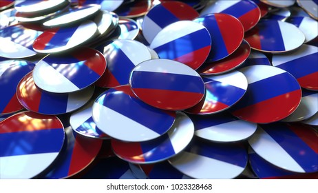 Pile of badges featuring flags of Russia. 3D rendering
