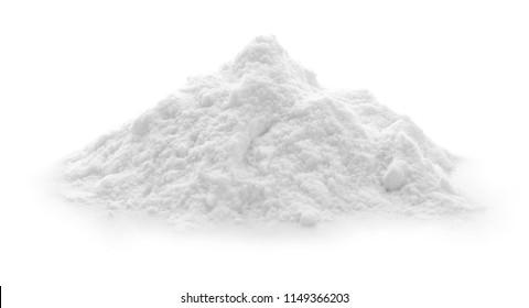 Pile of baking soda on white background
