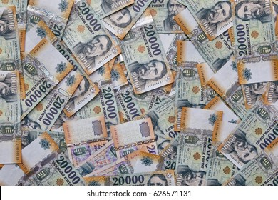 Pile of banknotes as a background (hungarian forint)