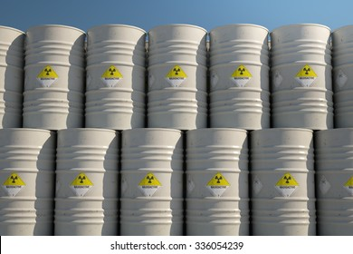Pile Of Barrels With Toxic Waste During Sunny Day