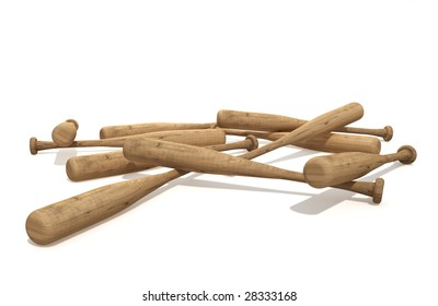 a pile of baseball bats isolated over white