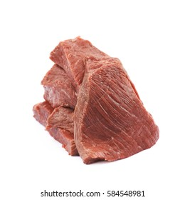 Pile of beef meat slices isolated over the white background