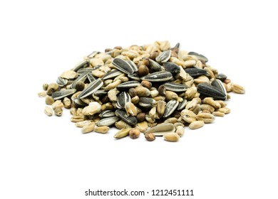 pile of birdseed isolated on white background