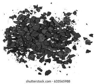 pile black coal isolated on white background, top view