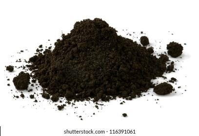 Pile of black fertile soil isolated on white