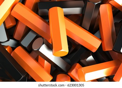 A pile of black and orange hexagon details. Abstract background. 3D rendering illustration