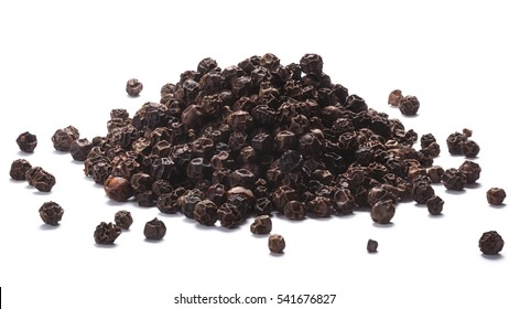 Pile of black peppercorns (dried seeds of Piper nigrum). Clipping paths, shadows separated