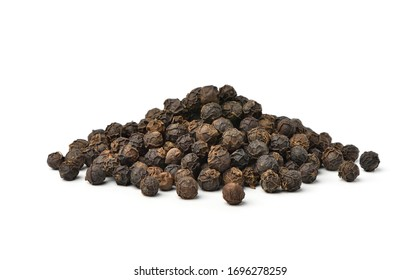 Pile of Black peppercorns (Black pepper) seeds isolated on white background. - Shutterstock ID 1696278259