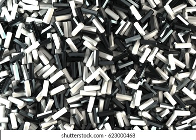 A pile of black and white hexagon details. Abstract background. 3D rendering illustration