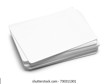 Pile of Blank Cards Isolated on a White Background.