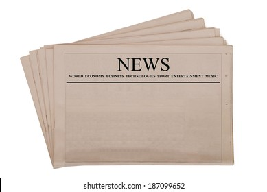 Pile of blank newspapers with black headline, isolated on white background